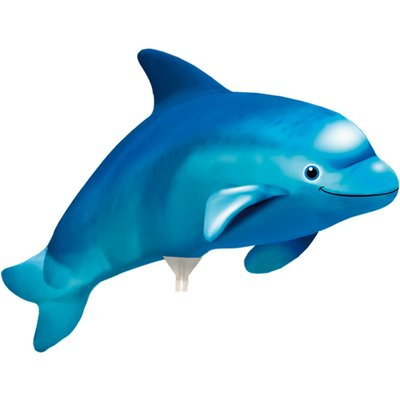 Ballong med pinne - Blå delfin