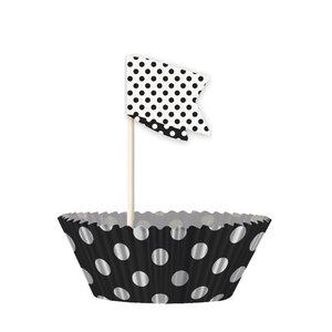 Cupcake kit - Svartprickiga 24 st