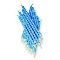 Blå prickiga tårtljus - 12 st
