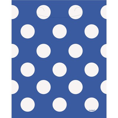 Blå prickiga kalaspåsar i plast - 8 st