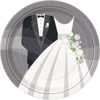 Tallrikar - Silvrigt bröllop - 23 cm 8 st