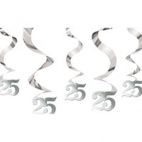 25-års jubileum hängande virvlar - festdekorationer - 5 st