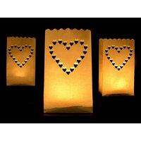 Ljuslykta av papper - Hjärtan 26 cm 10 st