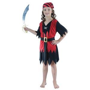 Piratbarn - maskeraddräkt klänning, röd & svart