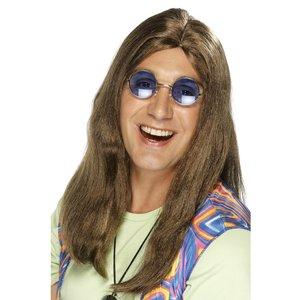Neil Hippy peruk brun