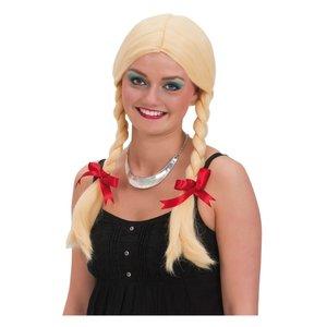 Blond peruk med flätor