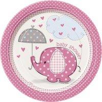Assietter - Baby shower rosa - 18 cm 8 st