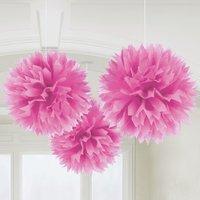 Rosa pom pom dekorationer - 40cm - 3 st