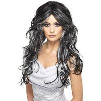 Gotisk brud peruk svart och grå