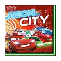 Disney bilar neon - servetter 2-lagers till fest röda - 20 st