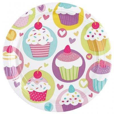 Cupcake papperstallrikar 23cm - 8 st