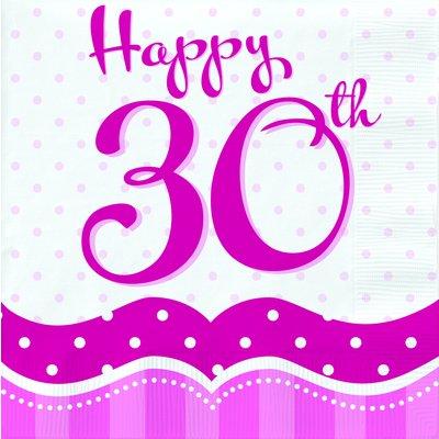 Rosa pappersservetter med prickar till 30-årsdagen 2-lagers - 18 st