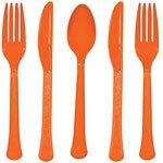 Orange plastbestickset - kalaspaket - 24 delar - 24 st