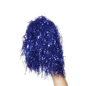 Extra stor metallisk pompom blå
