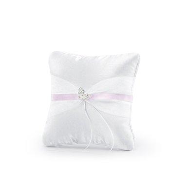 Kudde för vigselringar - Vit med rosa band och fjäril 20 cm