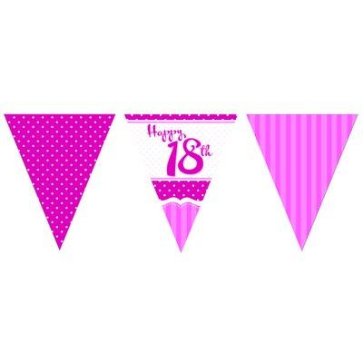 Vimpelbanderoll för 18-årsdagen rosa - 3,7m
