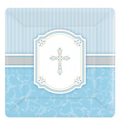 Desserttallrikar i papper ljusblå 17cm - 8 st