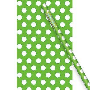Grön prickigt presentpapper - 1.5m rulle