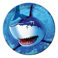 Papperstallrikar Blå haj 23cm - 8 st