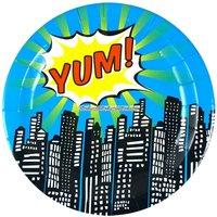 Pop Art superheroparty - runda papperstallrikar 23 cm - 8 st