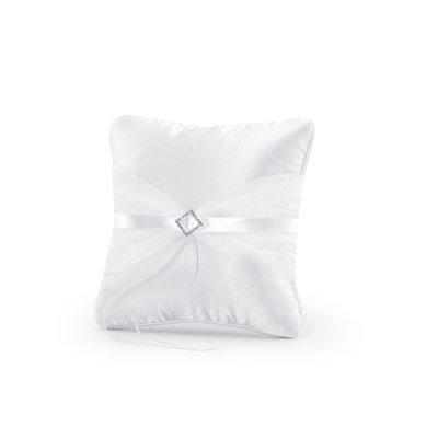 Kudde för vigselringar - Vit med silver utsmyckning 20 cm