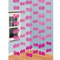 Rosa hängande festdekoration i snöre - till 60 årsdagem - 6 st