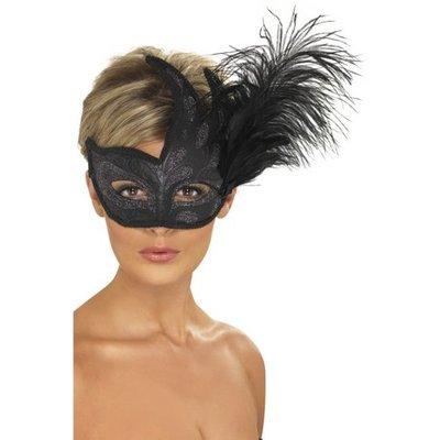 Colombina svart fjädermask