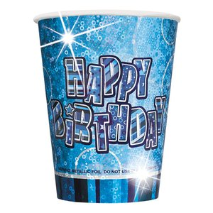 Happy birthday blåa pappmuggar 266ml - 8 st