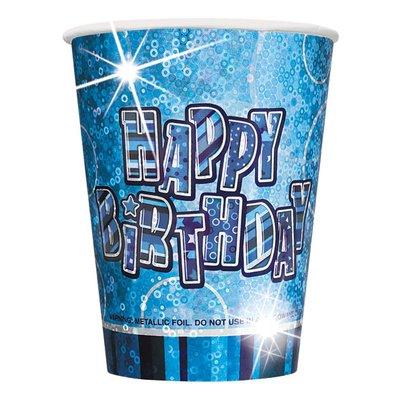 "\\\""Happy birthday\\\"" blåa pappmuggar 266ml - 8 st"
