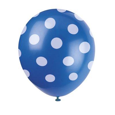 Blå latexballonger med prickar - 30 cm 6 st