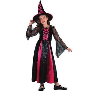 Häxa - maskeraddräkt barn, svart & rosa