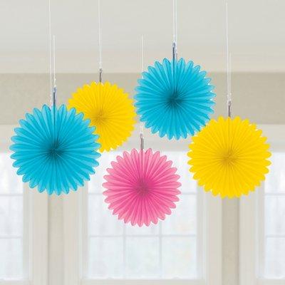 Flerfärgade hängande solfjäder dekorationer - 15.2cm - 5 st