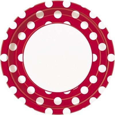 Röda prickiga papperstallrikar - 23cm - 8 st