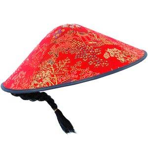 Kinesisk röd tyghatt Coolie