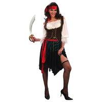 Piratflicka - maskeraddräkt blus, väst & kjol
