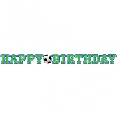 Banderoll happy birthday med en fotboll - 1.3m