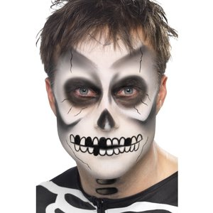 Skeleton Kit Black & White Face Paint Black Crayon and Sponge