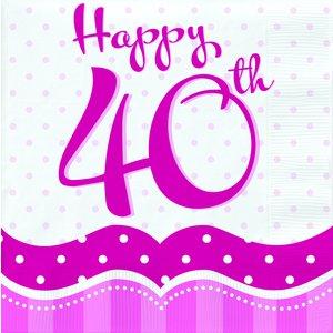 Rosa pappersservetter med prickar till 40-årsdagen 2-lagers - 18 st