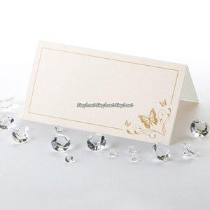 Elegant placeringskort med fjärilar - i guld - 50 st