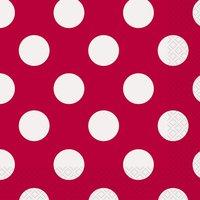 Röd prickiga 2-lagers servetter - 16 st