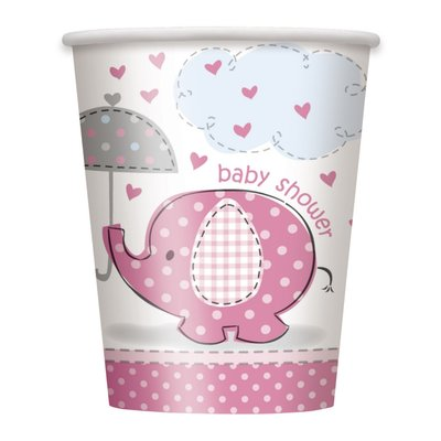 Pappersmuggar - Baby shower rosa - 27 cl 8 st