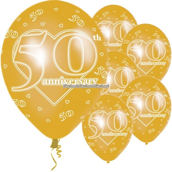 50 års bröllopsdag 50 års bröllopsdag Guldballonger   28 cm latex   6 st   43 kr  50 års bröllopsdag