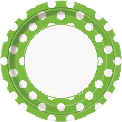 Grön prickiga papperstallrikar - 23cm - 8 st