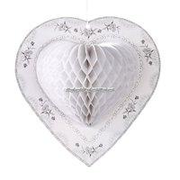 Hjärtformad vit honeycomb - festdekoration 25cm - 3 st