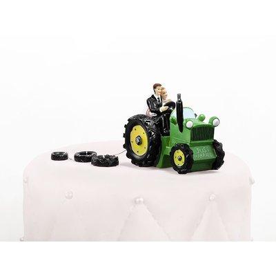 Tårtdekoration - Nygift par i traktor