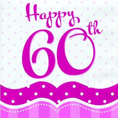 Rosa pappersservetter till 60-årsdagen 2-lagers - 18 st