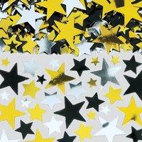 Bordskonfetti stjärnor i svart, silver och guld - storpack - 70 g
