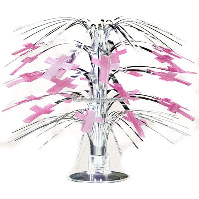 Minikaskad bordsdekoration - glänsande rosa kors