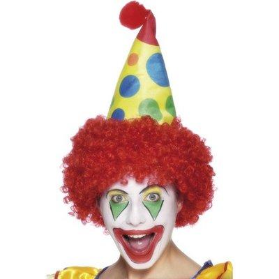 Clownhatt och peruk
