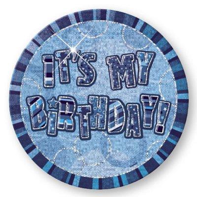It\\\'s My Birthday födelsedagsknapp - blå - 15 cm